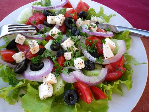 Kittencal's Greek Marinated Tomato, Olive and Feta Salad. Photo by Bergy