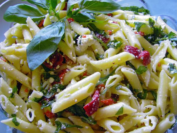 Penne Pasta Salad With Roasted Red Peppers and Fresh Basil. Photo by JustJanS