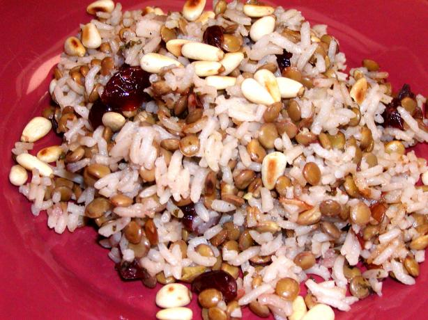 Rice, Lentils and Dried Cranberries Garnished With Pine Nuts. Photo by Rita~
