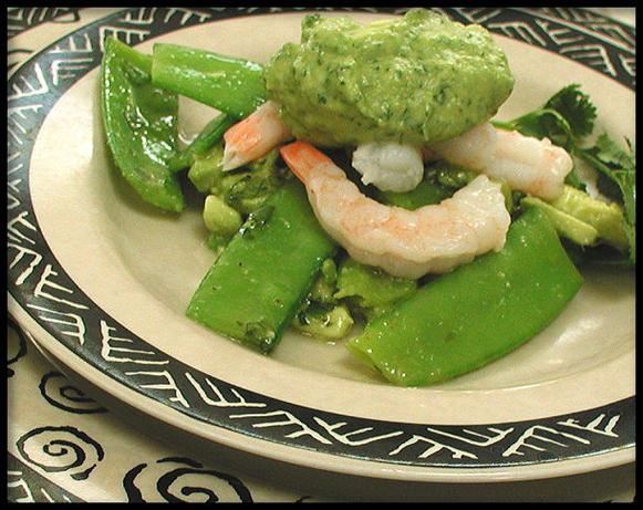Shrimp on Snow Peas With Avocado Citrus Dressing. Photo by Sandi (From CA)