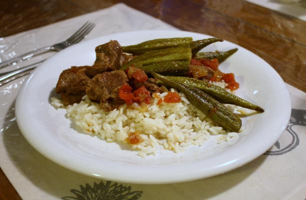 Bamya ( Lamb or Beef and Okra Stew). Photo by Everybody eats when they come to my house