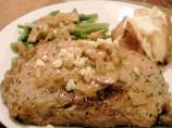 Rib-Eyes With Whiskey Blue Cheese Sauce and Mushrooms