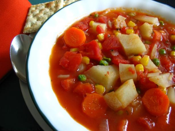 Almost Vegetarian Vegetable Soup. Photo by Breezytoo