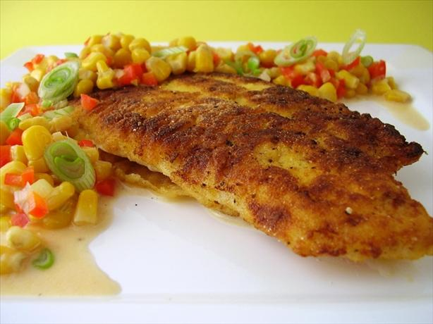 Southern-Cornmeal Crusted Catfish With Crunchy Corn Relish. Photo by Thorsten