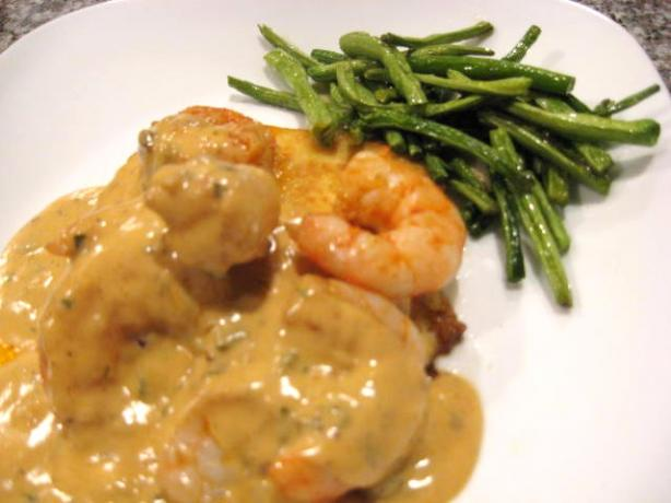 Saut&eacute;ed Shrimp With Polenta and Manchego Sauce. Photo by Papa D 1946-2012