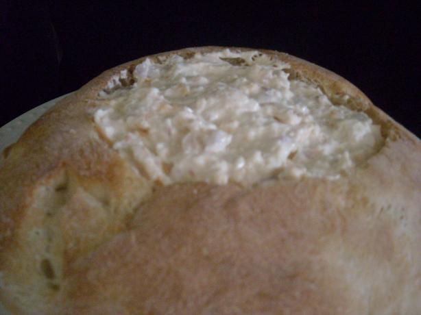 Hot Crab Dip in a Round Loaf. Photo by mums the word