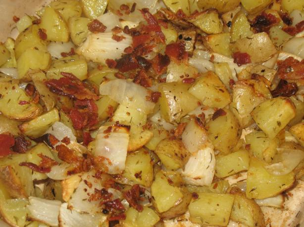 Yukon Gold Roasted Potatoes With Bacon, Onion and Garlic. Photo by Acadia*