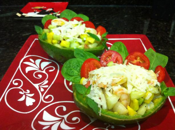 Shrimp & Scallop Salad in Avocado Cups. Photo by Laurita