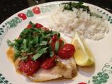 Poached Halibut With Tomato and Basil