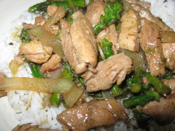 Spicy  Stir-Fried Pork, Asparagus, and Onions With Lemon Grass. Photo by Papa D 1946-2012