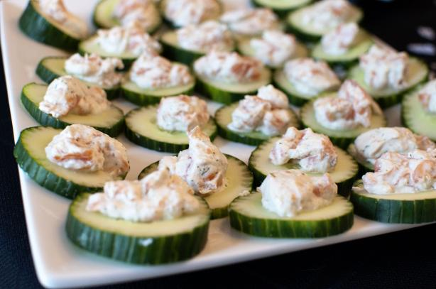 Cucumber Slices With Salmon Mousse. Photo by Chef #690054