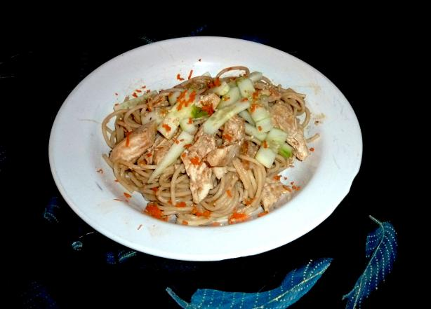 Cold Sesame Noodles With Shredded Chicken. Photo by momaphet
