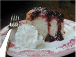 Lemon Angel Cake With Blueberry Sauce