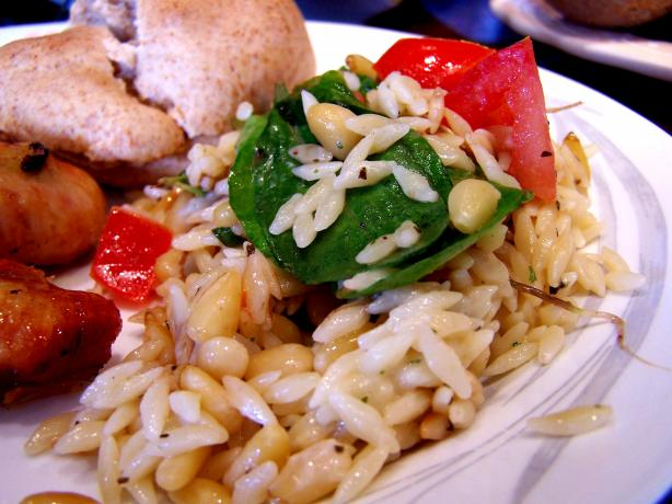 Elegant Orzo With Wilted Spinach, Feta and Pine Nuts. Photo by Rita~