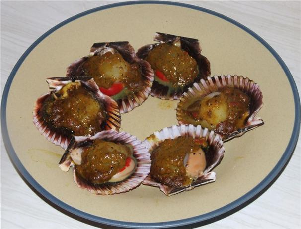 BBQ Curried Scallops in Shell. Photo by Peter J
