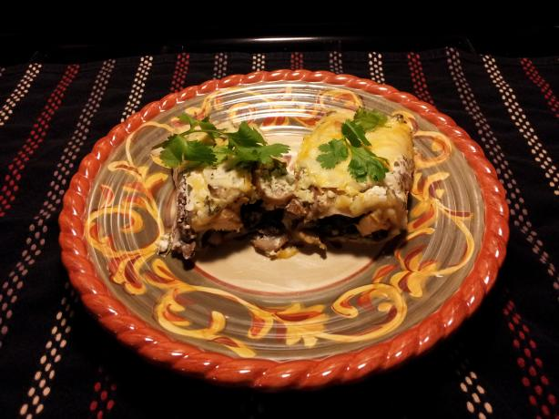 Spinach and Mushroom Enchiladas With Cilantro Cream Sauce. Photo by Chef #1522598