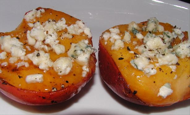 Grilled Nectarines With Bleu Cheese, Honey and Black Pepper. Photo by Mrs Goodall