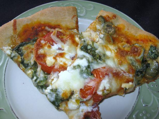 Spinach Feta and Artichoke Pizza. Photo by mary winecoff