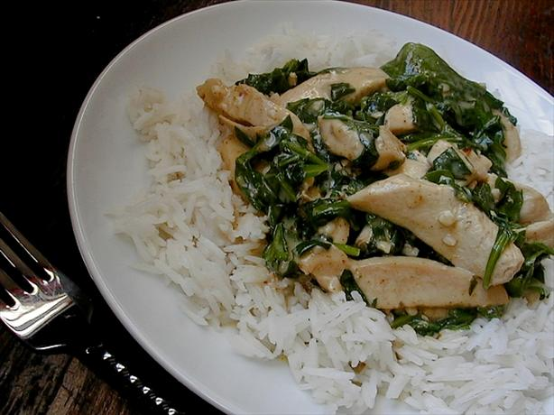Garlic Curry Chicken &amp; Spinach. Photo by ms_bold