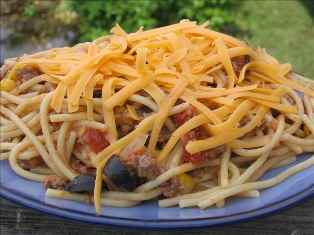 Tex-Mex Spaghetti (Crock Pot Served). Photo by Charmie777