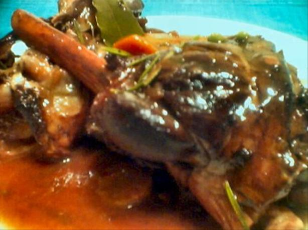 Slow Cooked Lamb Shanks in Red Wine. Photo by Summerwine