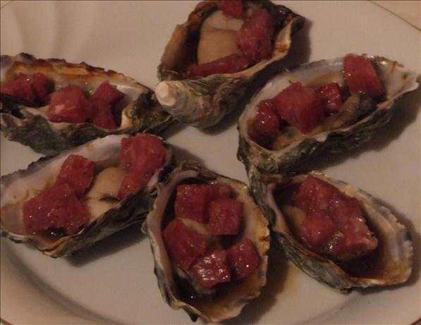 BBQ Salami Oysters. Photo by Peter J