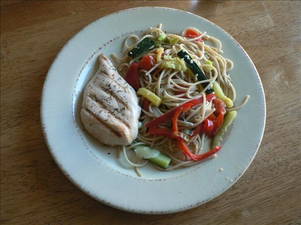 Chicken Piccata With Summer Vegetable Pasta. Photo by chicago gillott-i