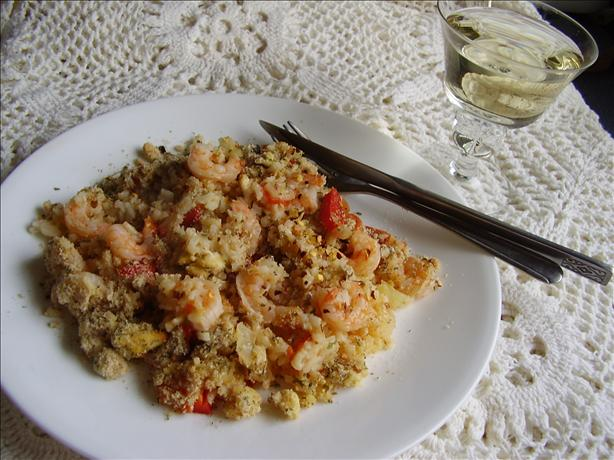 Greek Rice and Shrimp Bake With Feta Crumb Topping. Photo by NoraMarie