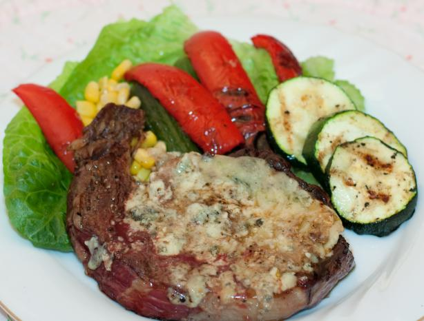 Blue Cheese Topped Grilled Ranch Steak. Photo by Peter J