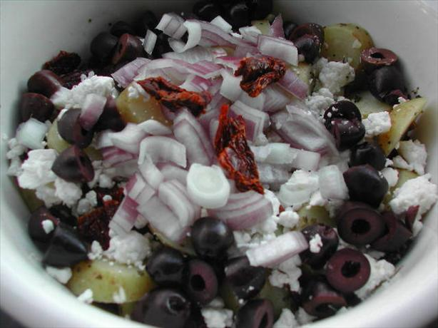 Greek Potato Salad With Sun-Dried Tomatoes. Photo by Kumquat the Cat's friend