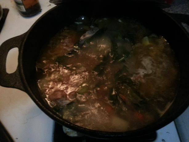 Chicken Stock Using Carcass. Photo by Keilty