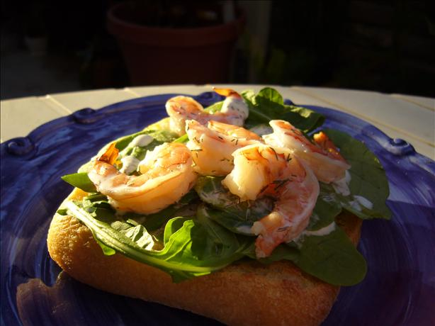 Prawn and Lime Mayonnaise Open Sandwich. Photo by cookiedog