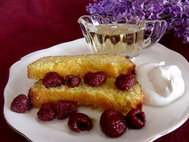 Lemon Polenta Cake With Lavender Syrup and Raspberries. Photo by Darkhunter