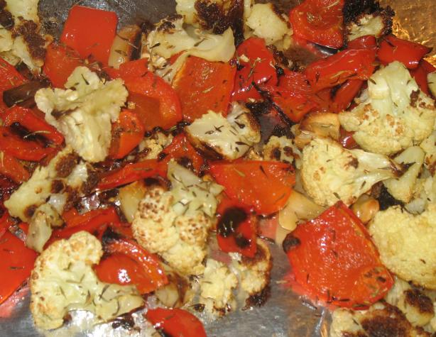Roasted Cauliflower With Garlic & Red Peppers. Photo by Acadia*