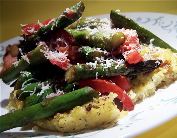 Grilled Herb Polenta  With Asparagus,  Tomatoes and Parmesan. Photo by PaulaG