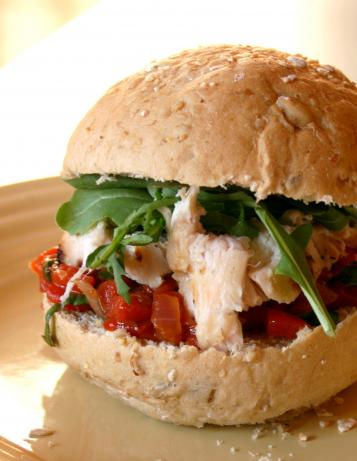 Basil Grilled Chicken Sandwiches With Red Pepper Relish. Photo by Cookin-jo