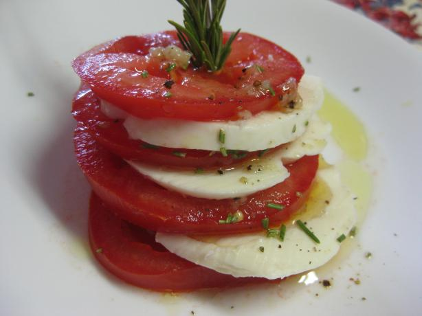 Mozzarella & Tomato Stacks With Rosemary. Photo by Charlotte J