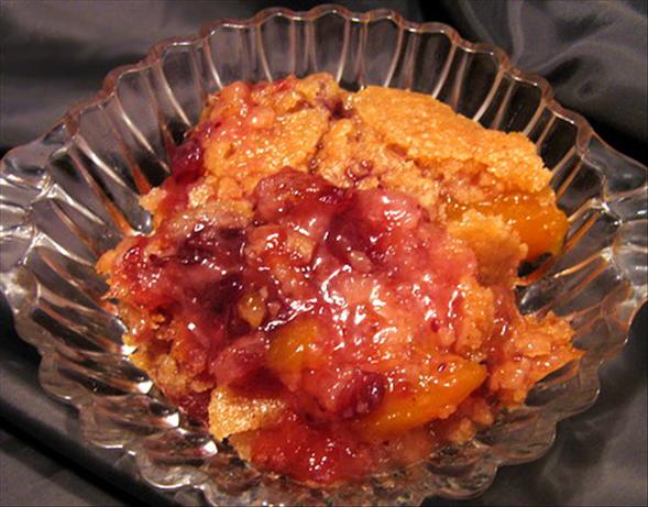 Thanksgiving Cranberry Peach Cobbler. Photo by Annacia
