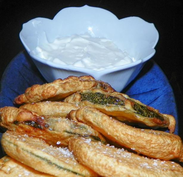 Fried Zucchini With Garlic Yogurt. Photo by Baby Kato