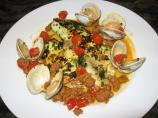 Moroccan Pesto Rockfish With Clam and Chorizo Sauce