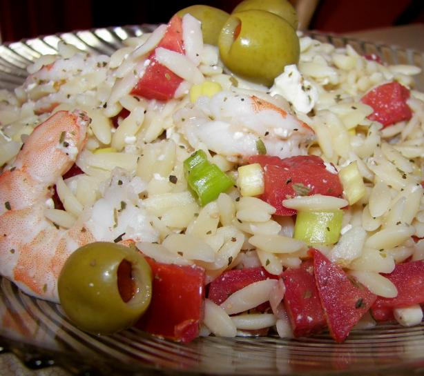 Shrimp With Orzo, Olives and Feta. Photo by Baby Kato