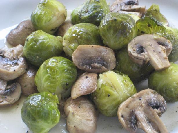 Savory Brussels Sprouts and Mushrooms. Photo by DeeVaFoodie