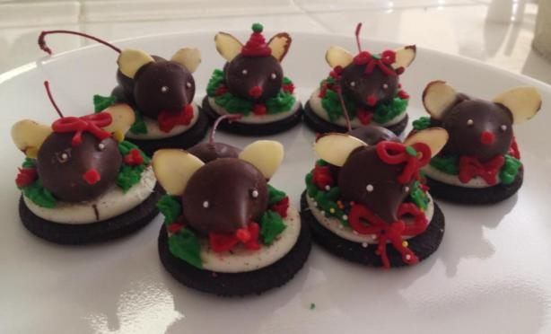 Chocolate Christmas Mice Cookies. Photo by moonpower