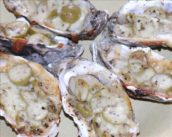 BBQ Oysters and Olives. Photo by Peter J