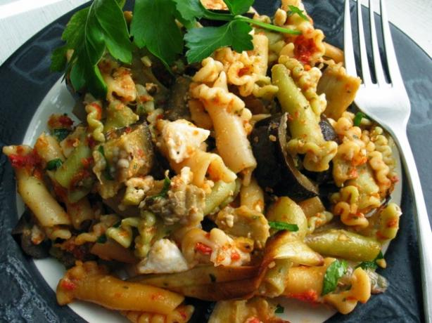 Rigatoni With Eggplant and Dried Tomato Pesto. Photo by flower7