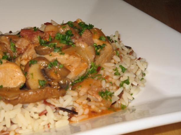 Rabbit  in a White Wine, Bacon, Onion  and Mushroom Sauce. Photo by The Flying Chef