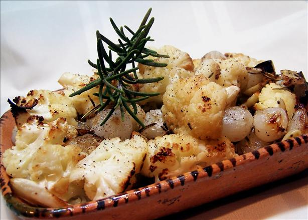 Roasted Cauliflower & Roasted Garlic With Pearl Onions. Photo by PaulaG