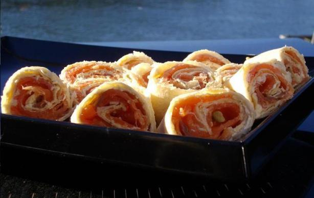 Smoked Salmon &amp; Cream Cheese Swirls. Photo by The Flying Chef