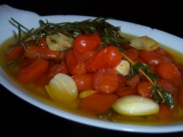 Garlic Roasted Grape Tomatoes in Olive Oil. Photo by CJane