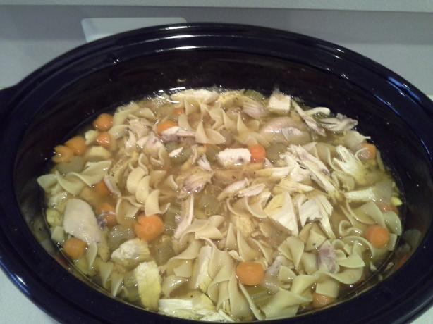 Slow Cooker Chicken Noodle Soup. Photo by goldkk